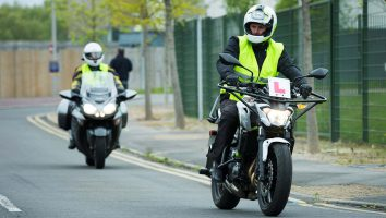 motorcycle test on the road